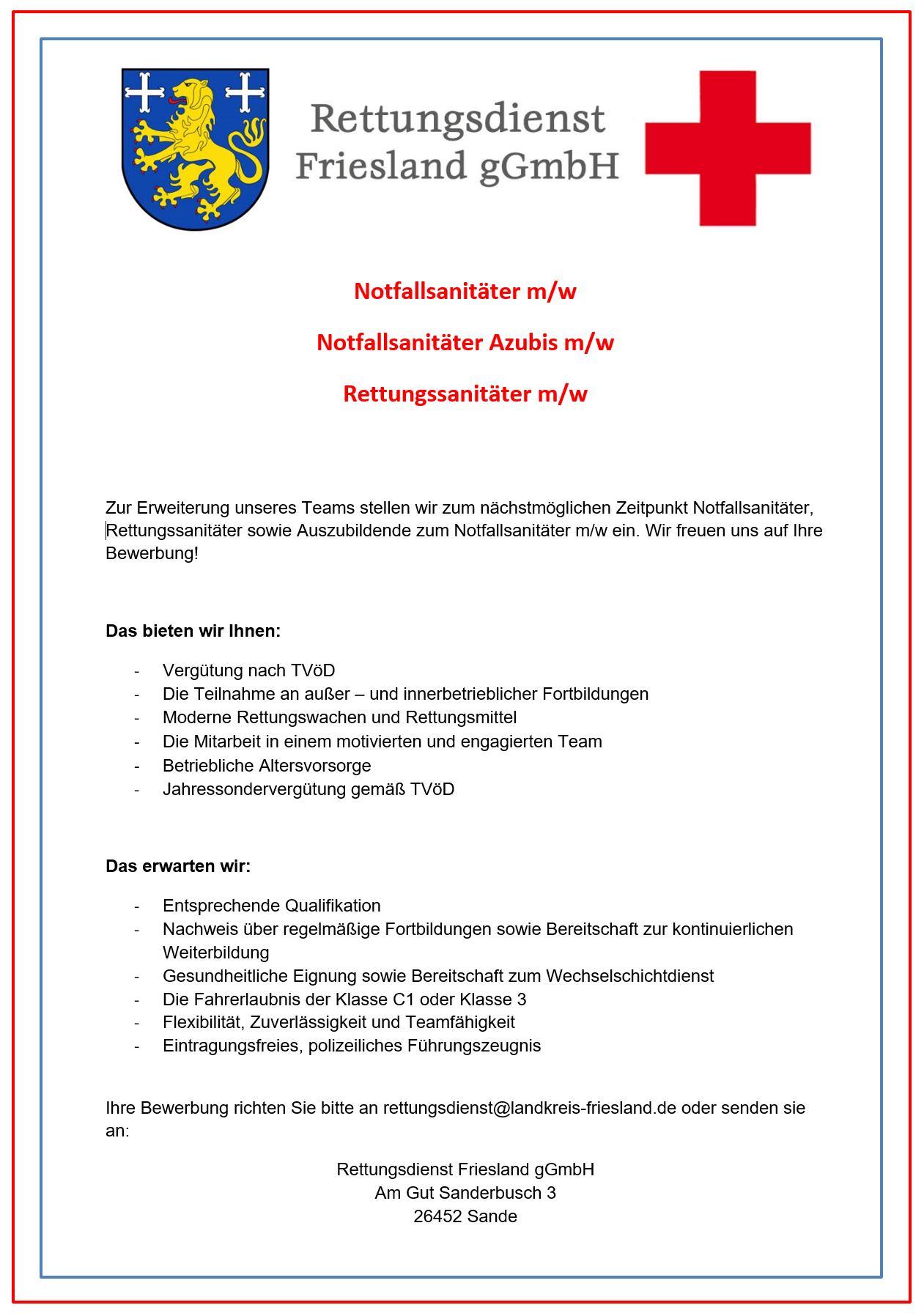 stellenanzeigen rettungsdienst friesland